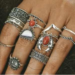 Red and White Turquoise and Silver Ring Set